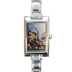 Wonderful Seascape With Mushroom House Rectangle Italian Charm Watch by FantasyWorld7