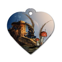 Wonderful Seascape With Mushroom House Dog Tag Heart (one Side) by FantasyWorld7
