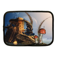 Wonderful Seascape With Mushroom House Netbook Case (medium)  by FantasyWorld7