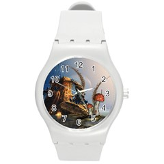 Wonderful Seascape With Mushroom House Round Plastic Sport Watch (m) by FantasyWorld7