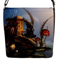 Wonderful Seascape With Mushroom House Flap Messenger Bag (s)