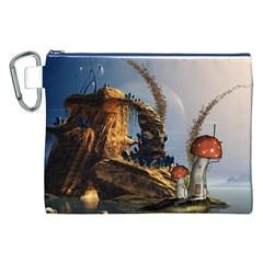 Wonderful Seascape With Mushroom House Canvas Cosmetic Bag (xxl) by FantasyWorld7
