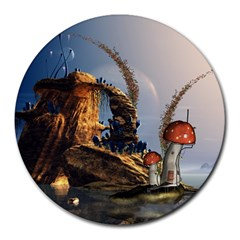 Wonderful Seascape With Mushroom House Round Mousepads by FantasyWorld7