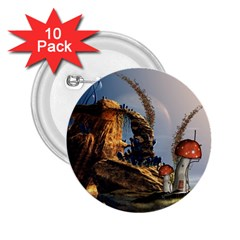 Wonderful Seascape With Mushroom House 2 25  Buttons (10 Pack)  by FantasyWorld7