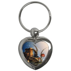 Wonderful Seascape With Mushroom House Key Chains (heart)  by FantasyWorld7