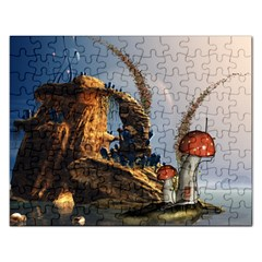 Wonderful Seascape With Mushroom House Rectangular Jigsaw Puzzl by FantasyWorld7