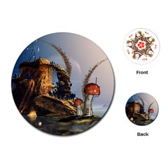 Wonderful Seascape With Mushroom House Playing Cards (round)  by FantasyWorld7