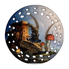 Wonderful Seascape With Mushroom House Ornament (round Filigree) by FantasyWorld7