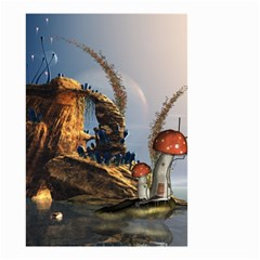 Wonderful Seascape With Mushroom House Small Garden Flag (two Sides) by FantasyWorld7