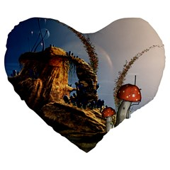 Wonderful Seascape With Mushroom House Large 19  Premium Heart Shape Cushions by FantasyWorld7