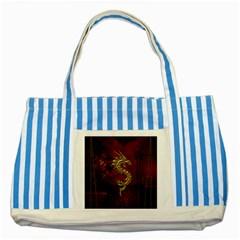 Wonderful Mystical Dragon, Vintage Striped Blue Tote Bag by FantasyWorld7