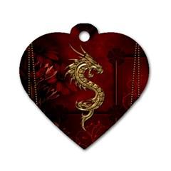 Wonderful Mystical Dragon, Vintage Dog Tag Heart (one Side) by FantasyWorld7