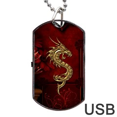 Wonderful Mystical Dragon, Vintage Dog Tag Usb Flash (two Sides) by FantasyWorld7