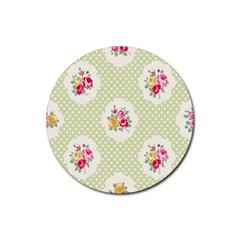 Green Shabby Chic Rubber Coaster (round)  by 8fugoso