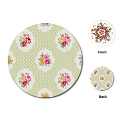 Green Shabby Chic Playing Cards (round)  by 8fugoso