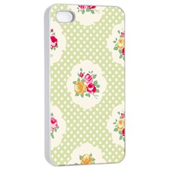 Green Shabby Chic Apple Iphone 4/4s Seamless Case (white) by 8fugoso