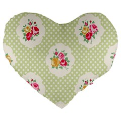 Green Shabby Chic Large 19  Premium Heart Shape Cushions by 8fugoso