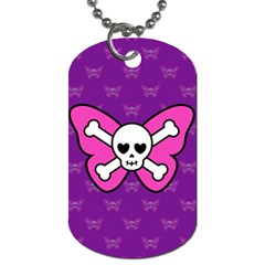 Cute Butterfly Skull Dog Tag (two Sided)