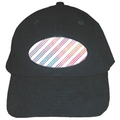 Colored Candy Striped Black Cap by Colorfulart23