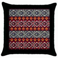 Aztec Mayan Inca Pattern 7 Throw Pillow Case (black) by Cveti