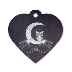 Mandala, Cute Owl On The Moon Dog Tag Heart (two Sides) by FantasyWorld7
