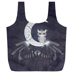 Mandala, Cute Owl On The Moon Full Print Recycle Bags (l)  by FantasyWorld7