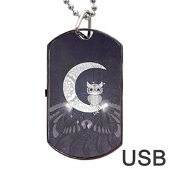 Mandala, Cute Owl On The Moon Dog Tag Usb Flash (one Side) by FantasyWorld7