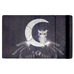 Mandala, Cute Owl On The Moon Apple Ipad 2 Flip Case by FantasyWorld7