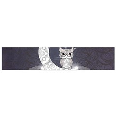 Mandala, Cute Owl On The Moon Flano Scarf (small)