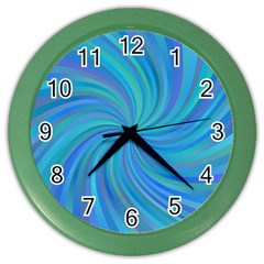 Blue Background Spiral Swirl Color Wall Clocks by Celenk