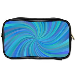 Blue Background Spiral Swirl Toiletries Bags 2 Side by Celenk