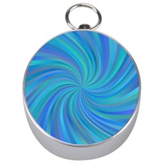 Blue Background Spiral Swirl Silver Compasses by Celenk