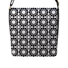Black White Pattern Seamless Monochrome Flap Messenger Bag (l)  by Celenk