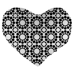 Black White Pattern Seamless Monochrome Large 19  Premium Flano Heart Shape Cushions by Celenk