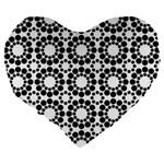 Black White Pattern Seamless Monochrome Large 19  Premium Flano Heart Shape Cushions Back