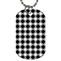 Black White Square Diagonal Pattern Seamless Dog Tag (two Sides) by Celenk