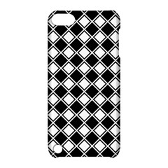 Black White Square Diagonal Pattern Seamless Apple Ipod Touch 5 Hardshell Case With Stand by Celenk