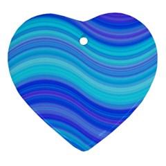 Blue Background Water Design Wave Ornament (heart)