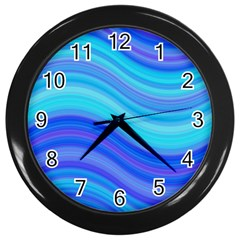 Blue Background Water Design Wave Wall Clocks (black) by Celenk