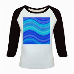 Blue Background Water Design Wave Kids Baseball Jerseys by Celenk