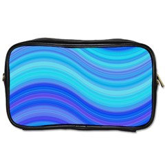 Blue Background Water Design Wave Toiletries Bags 2 Side by Celenk