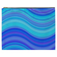Blue Background Water Design Wave Cosmetic Bag (xxxl)  by Celenk