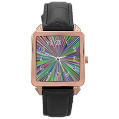 Burst Colors Ray Speed Vortex Rose Gold Leather Watch  by Celenk
