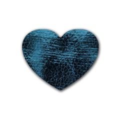Blue Black Shiny Fabric Pattern Rubber Coaster (heart)  by Celenk