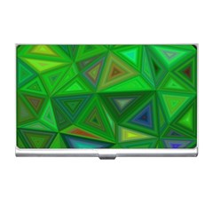 Green Triangle Background Polygon Business Card Holders by Celenk