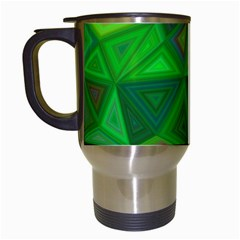 Green Triangle Background Polygon Travel Mugs (white) by Celenk
