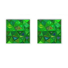Green Triangle Background Polygon Cufflinks (square) by Celenk
