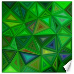 Green Triangle Background Polygon Canvas 16  X 16   by Celenk