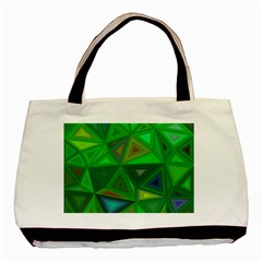 Green Triangle Background Polygon Basic Tote Bag (two Sides) by Celenk