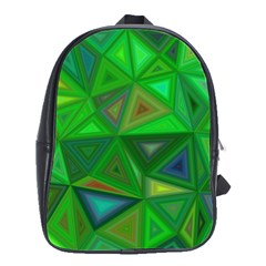 Green Triangle Background Polygon School Bag (large) by Celenk